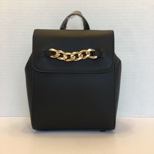 NWT Chain-Accent Flap Black & Gold Backpack
